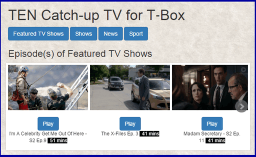 Search TENplay catch up TV and play programs on your T-Box