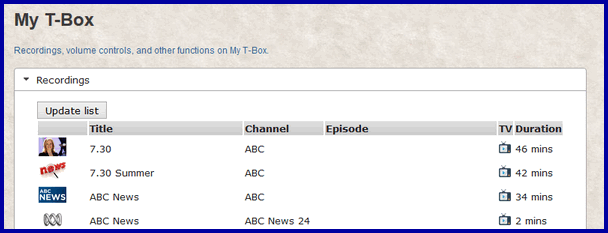 List the free-to-air programs you have recorded on your T-Box